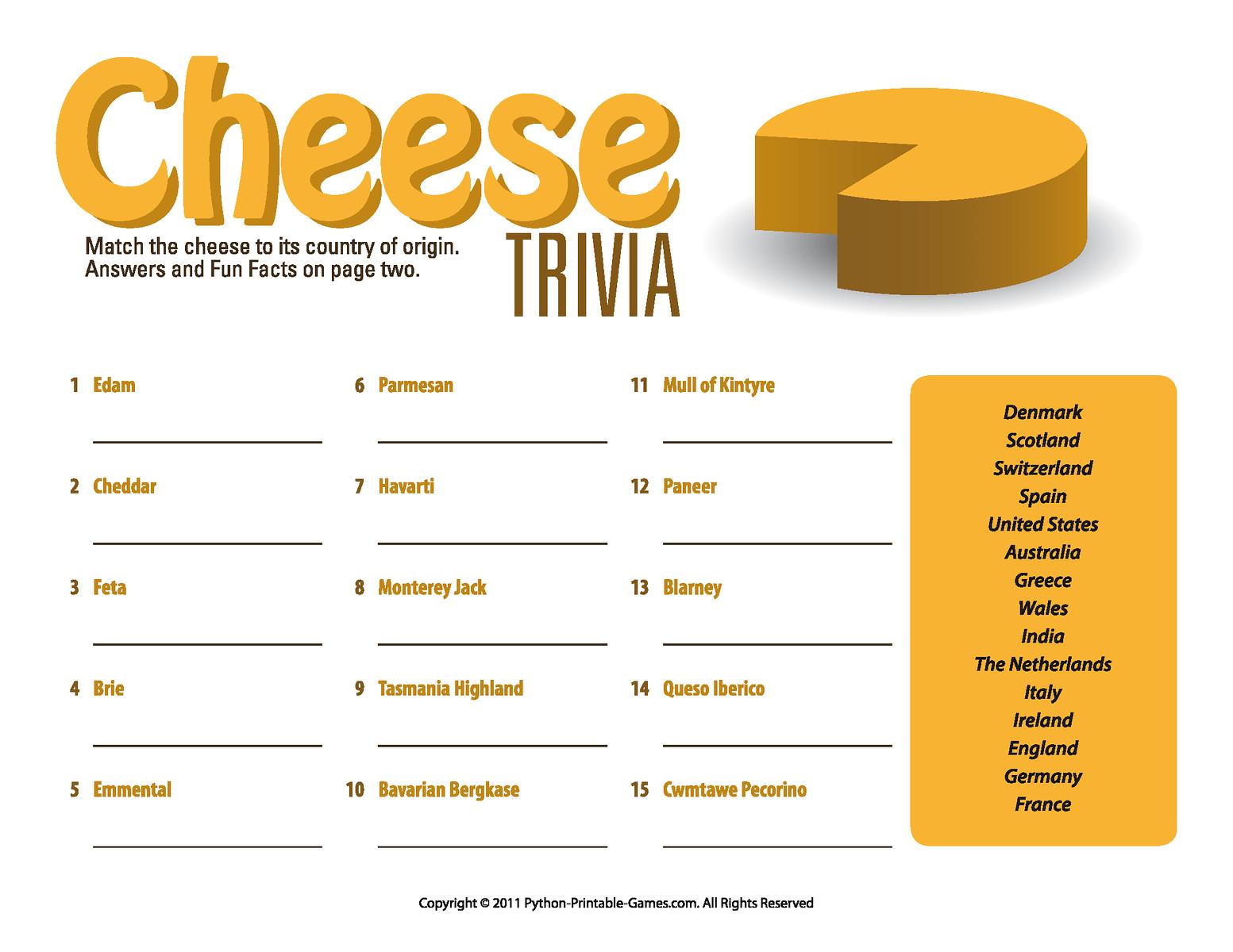 Adult Picnic Game Printable Cheese Trivia Quiz