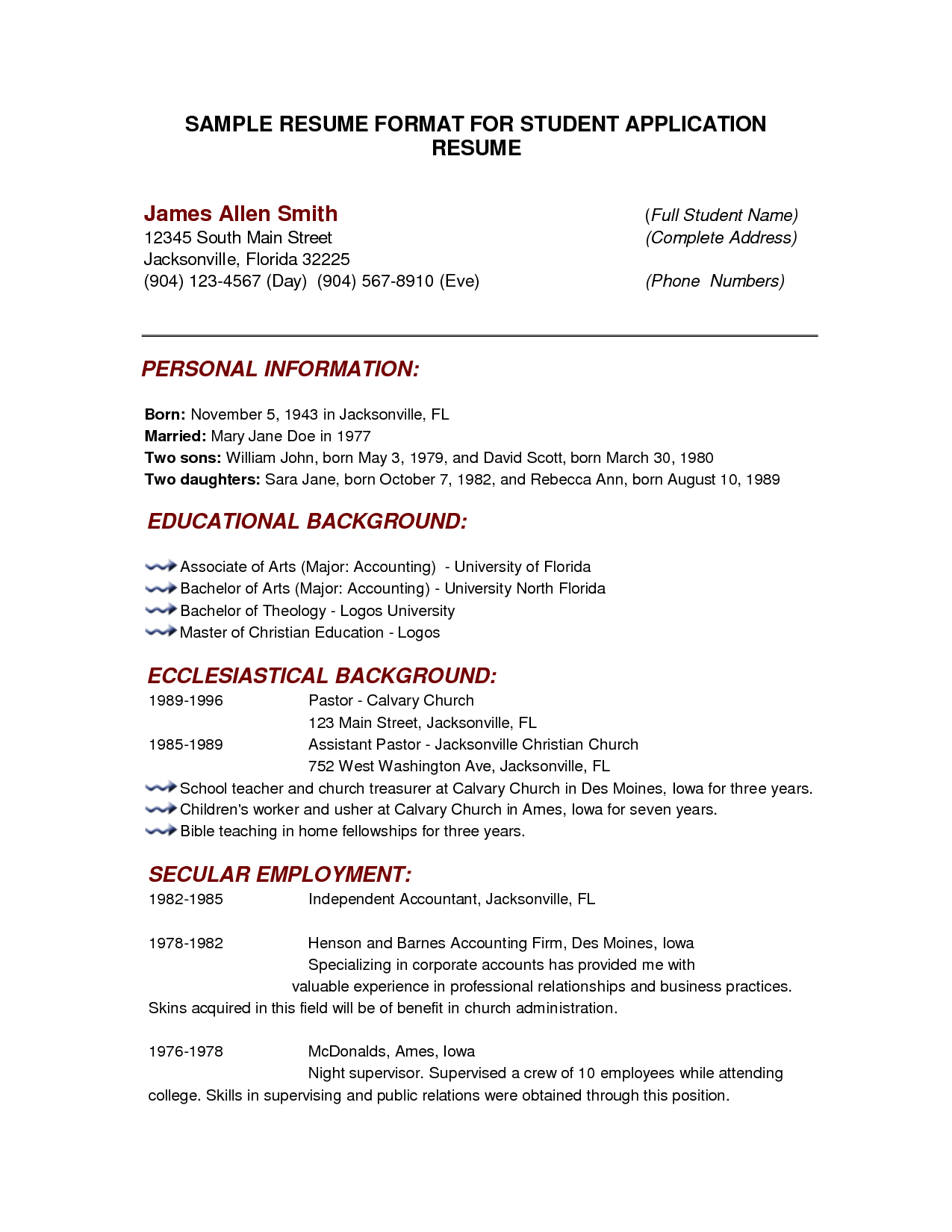 Resume Template For College Students http//www