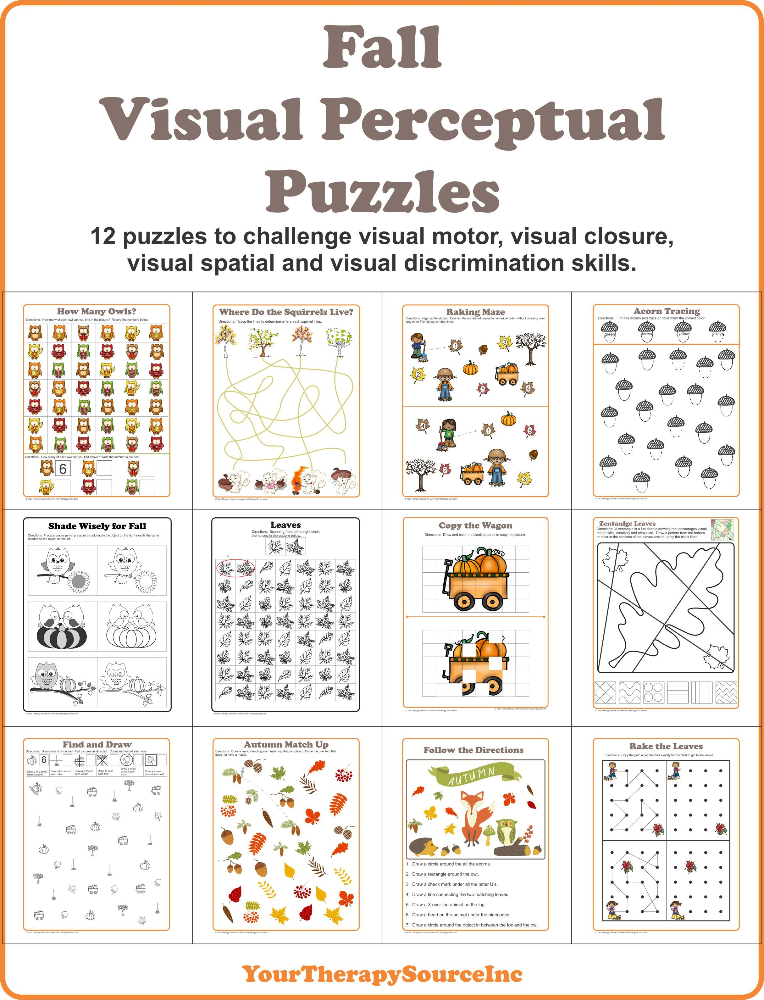 Fall Visual Perceptual Puzzles To Challenge Visual Motor Visual Spatial Visual Discrimination