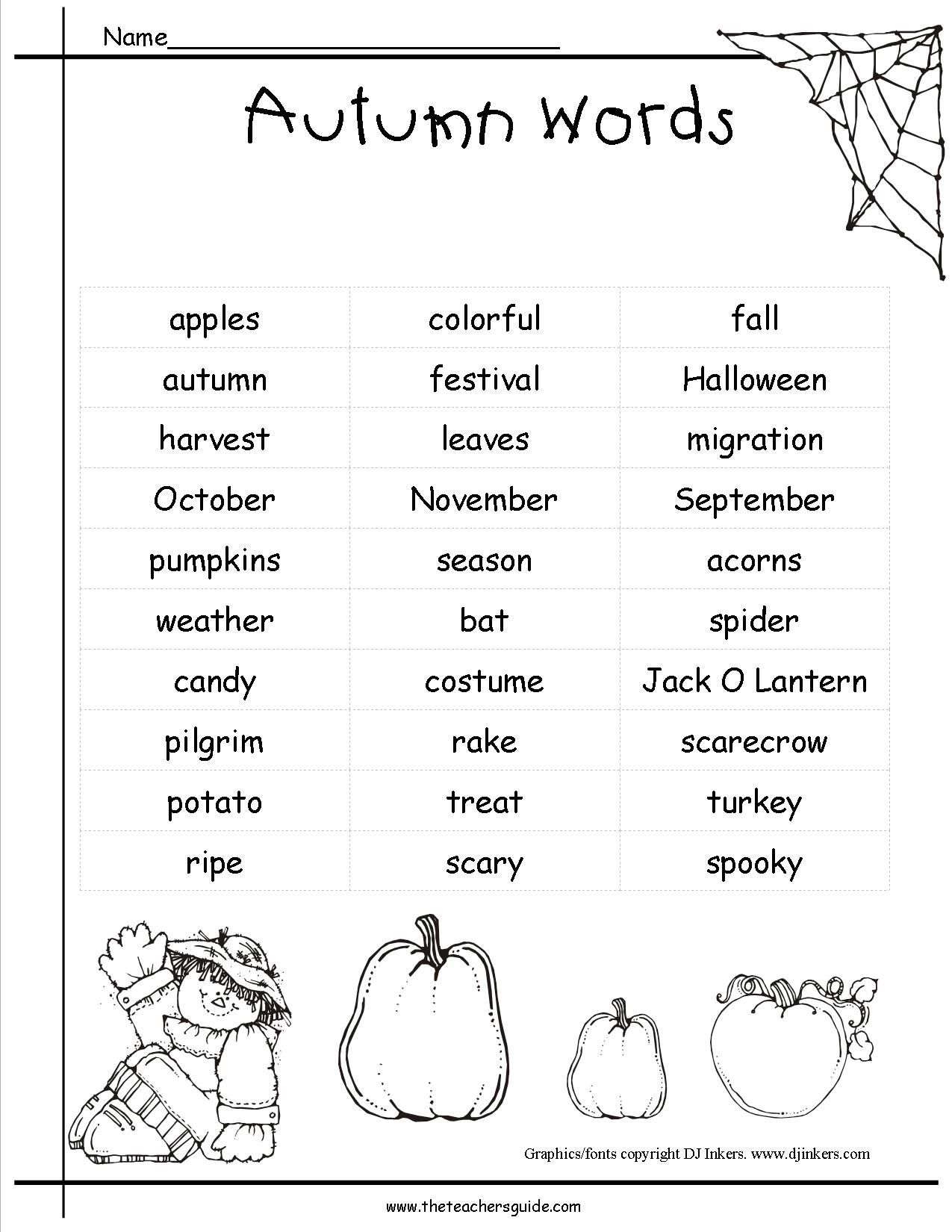 Fall Letter L Worksheet
