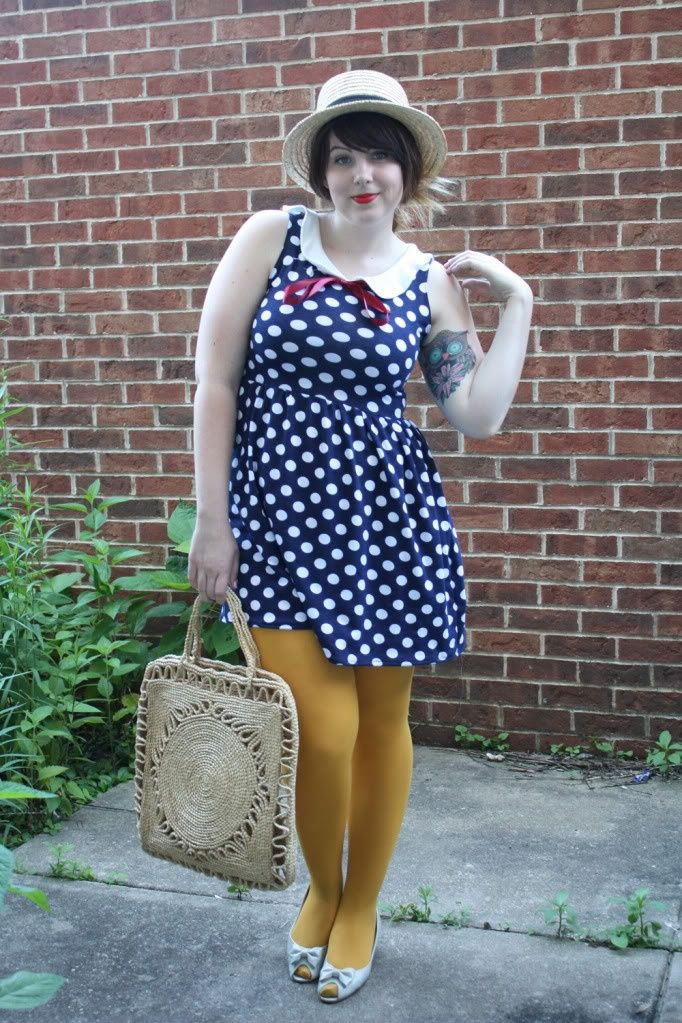 Mustard tights and blue dress with white dots Yellow