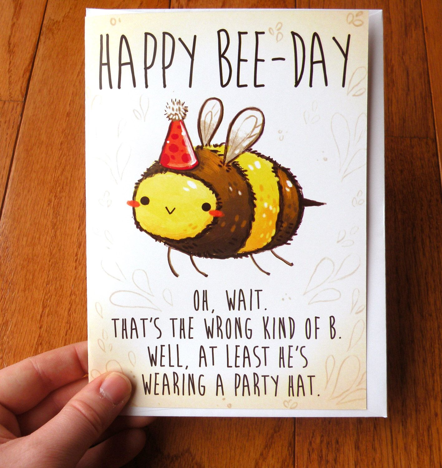 funny birthday card, bee card, cards, cute cards by