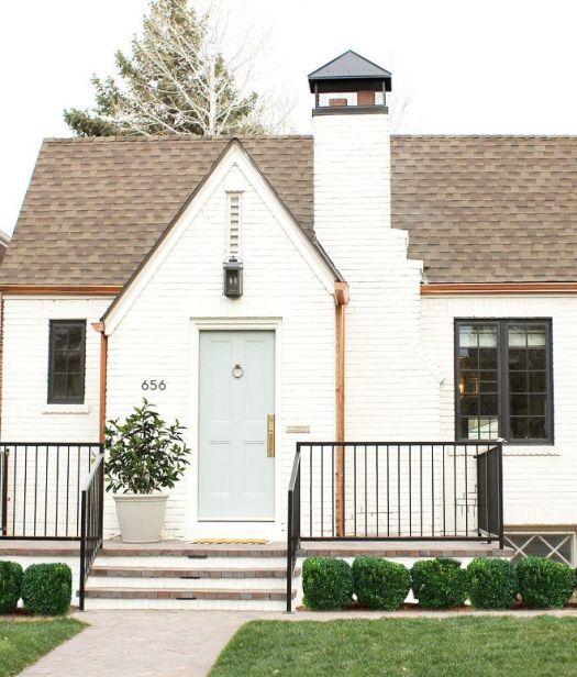 Exterior Brick Paint Color Is Benjamin Moore China White Grey Door