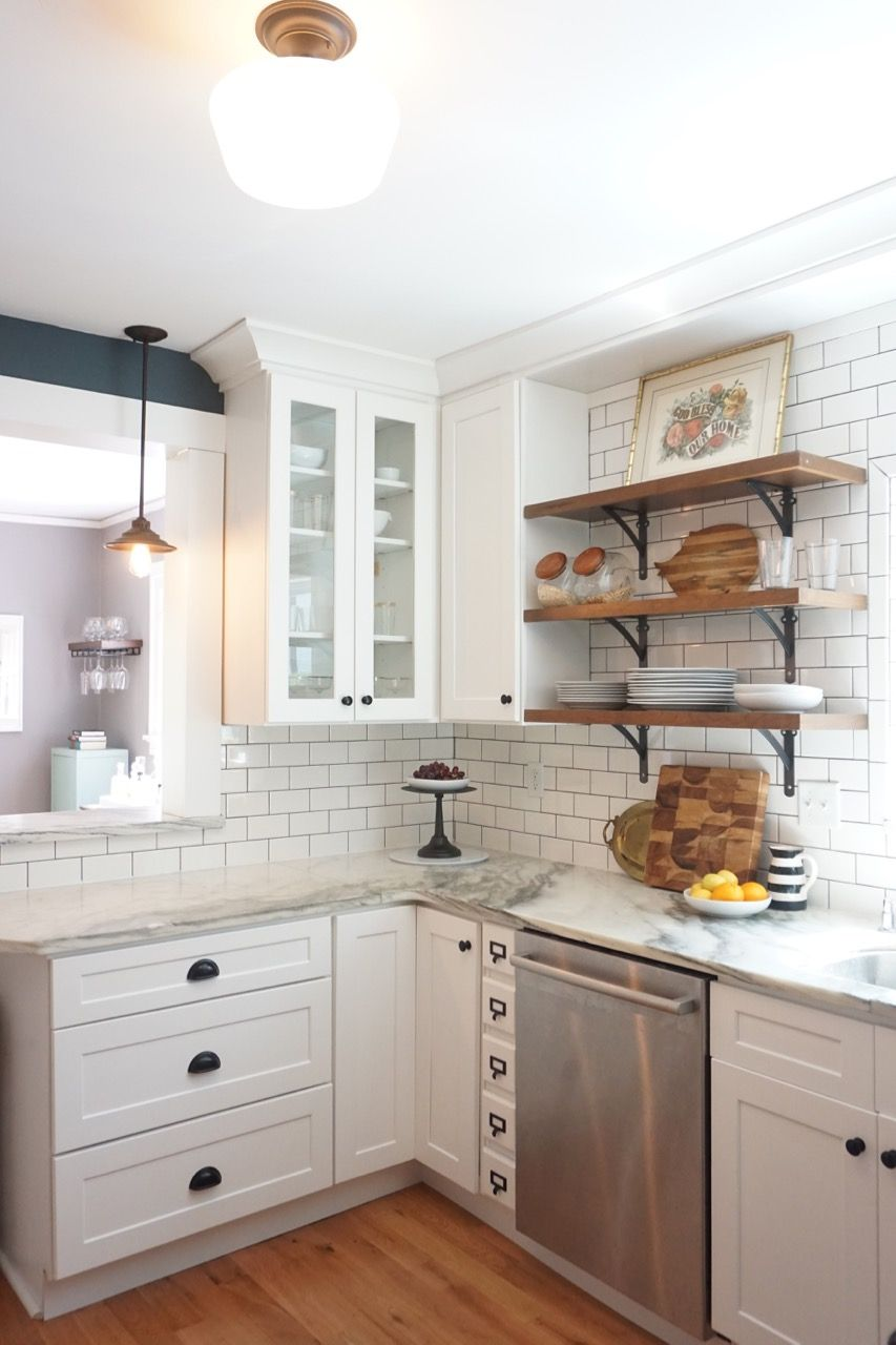 Vintage kitchen remodel. White shaker marble