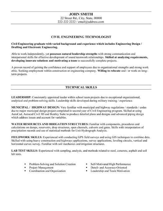 resume templates resume and civil engineering on pinterest