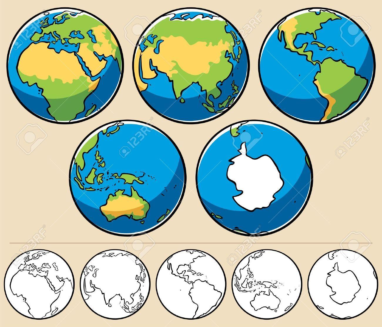 Dibujo Continentes La Tierra
