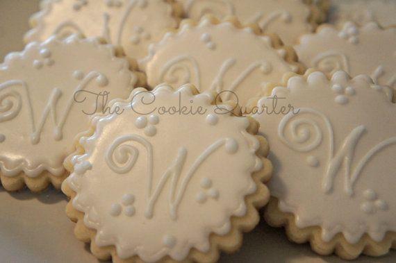 Monogram Letter Wedding Cookies, 1 Dozen, Decorated Sugar