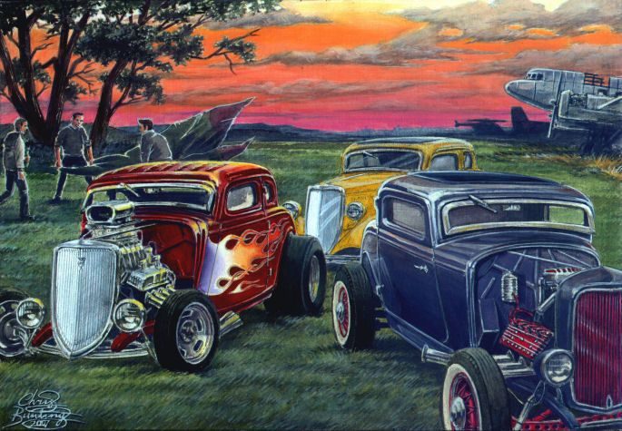 Hot Rod Car Posters Gathering At The Strip Limited