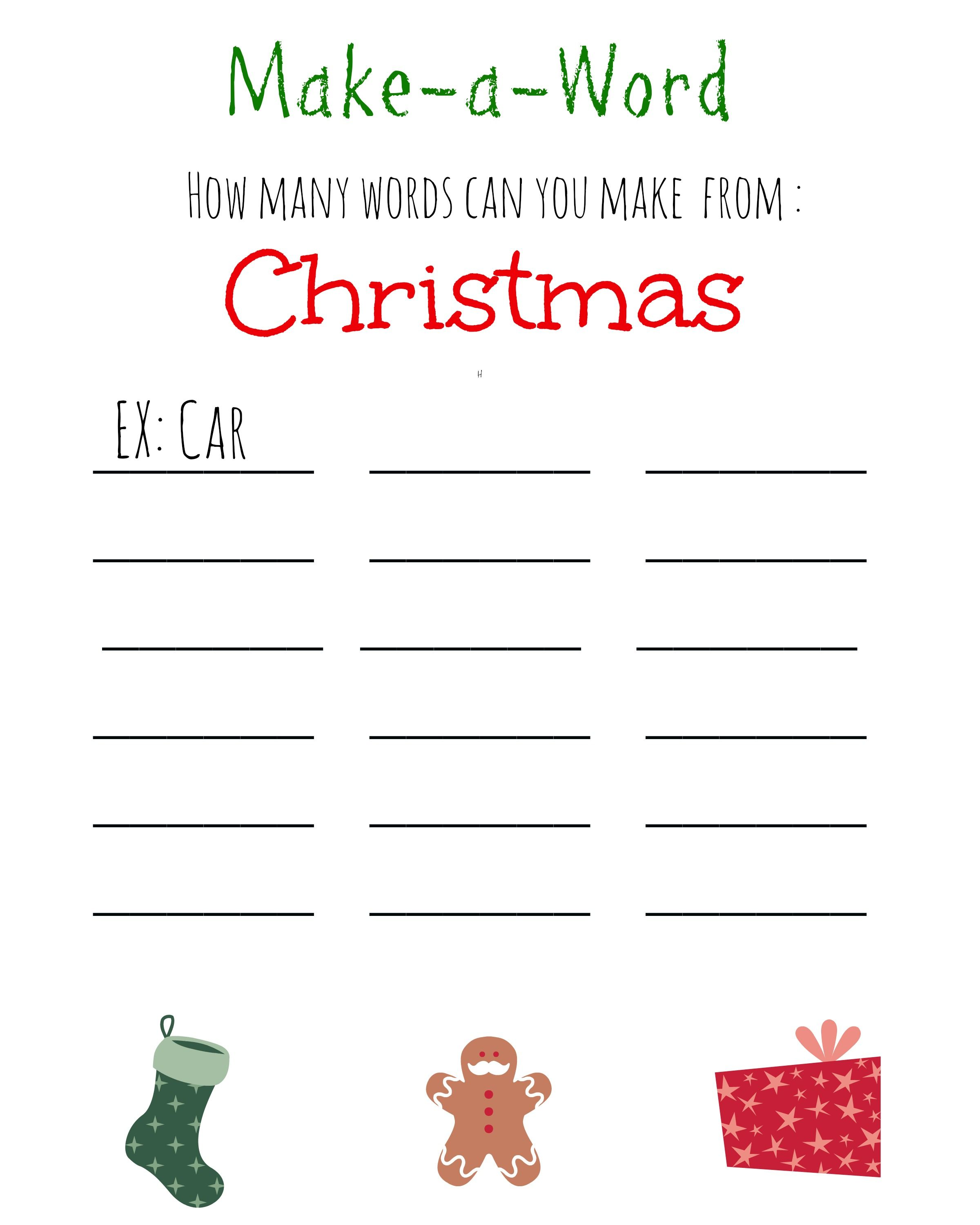 Christmas Make A Word Free Printable
