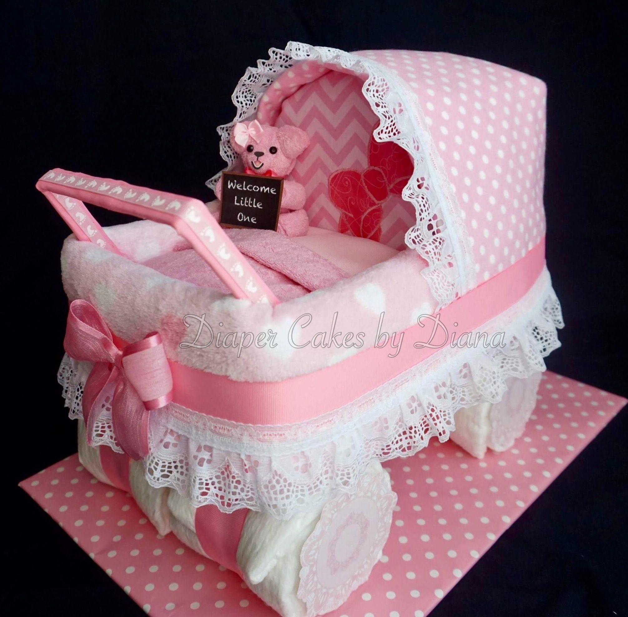 Pink Carriage Diaper Cake Facebook