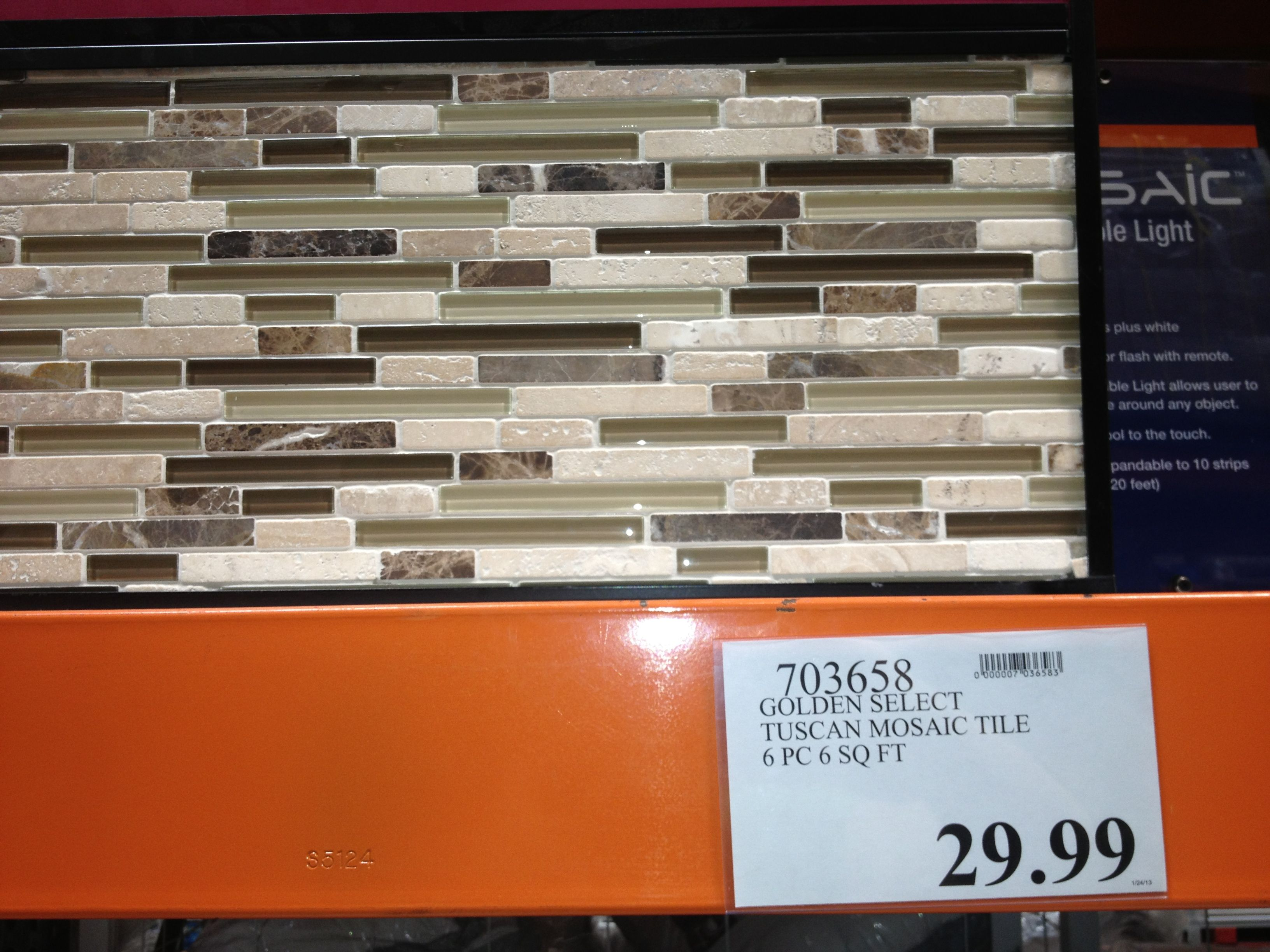 Golden select Glass and Stone Tuscan Mosaic Tile 6pc for