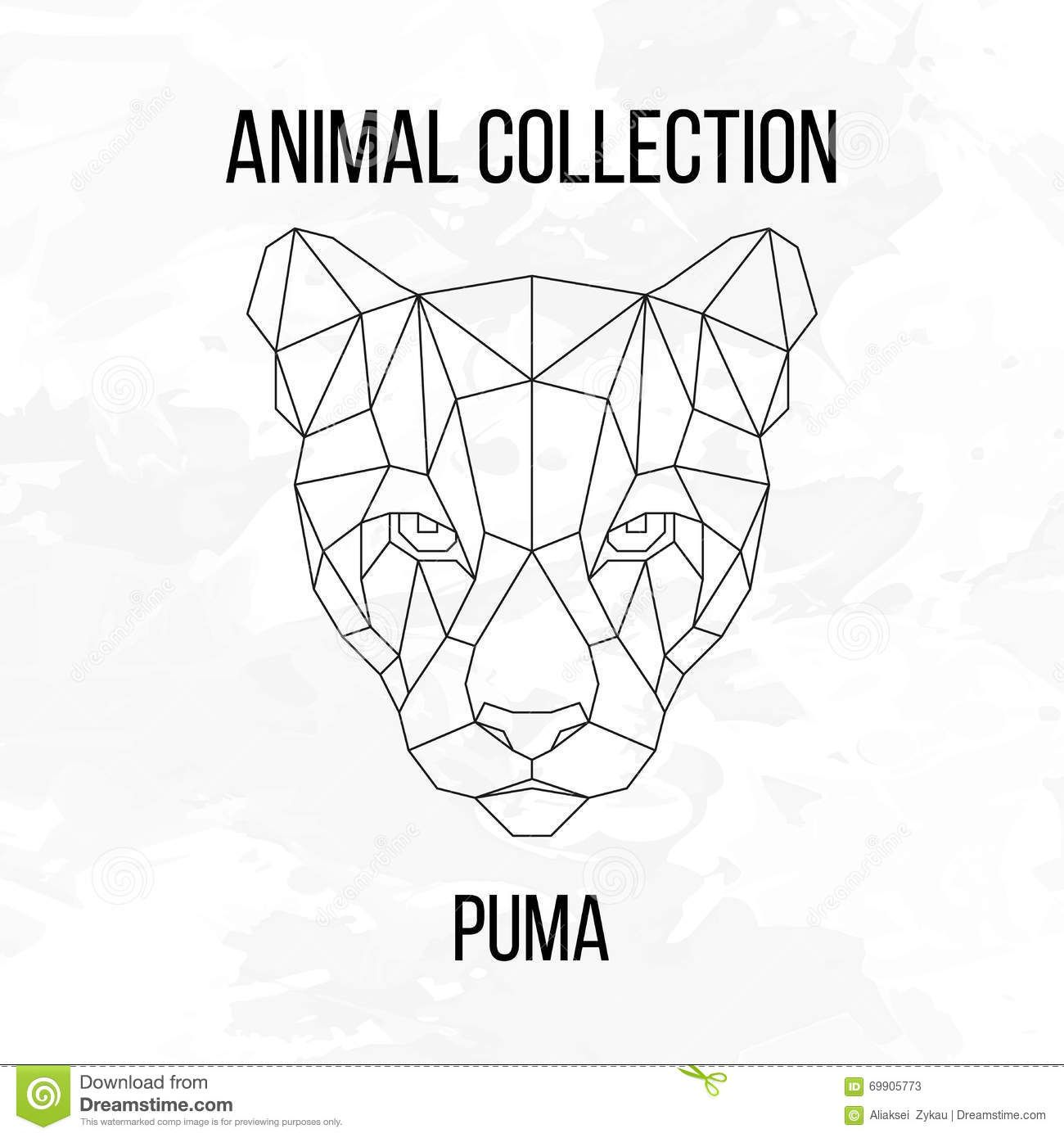 Geometric Puma Head Animal Line Silhouette White