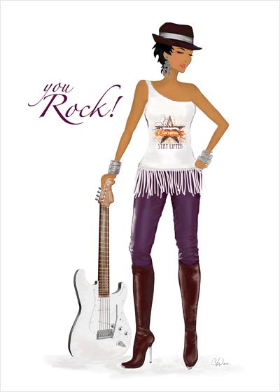You Rock Greeting Card art & fashion illustration card