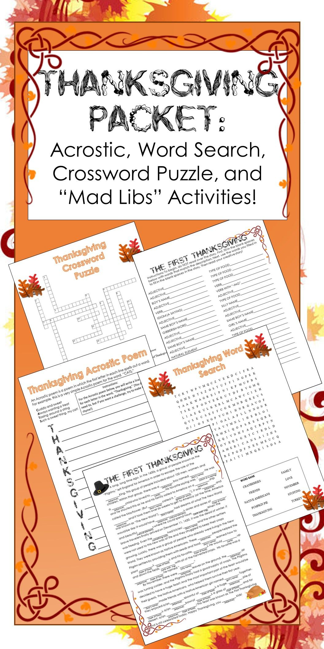 Thanksgiving Activities Crossword Puzzle Word Search Writing