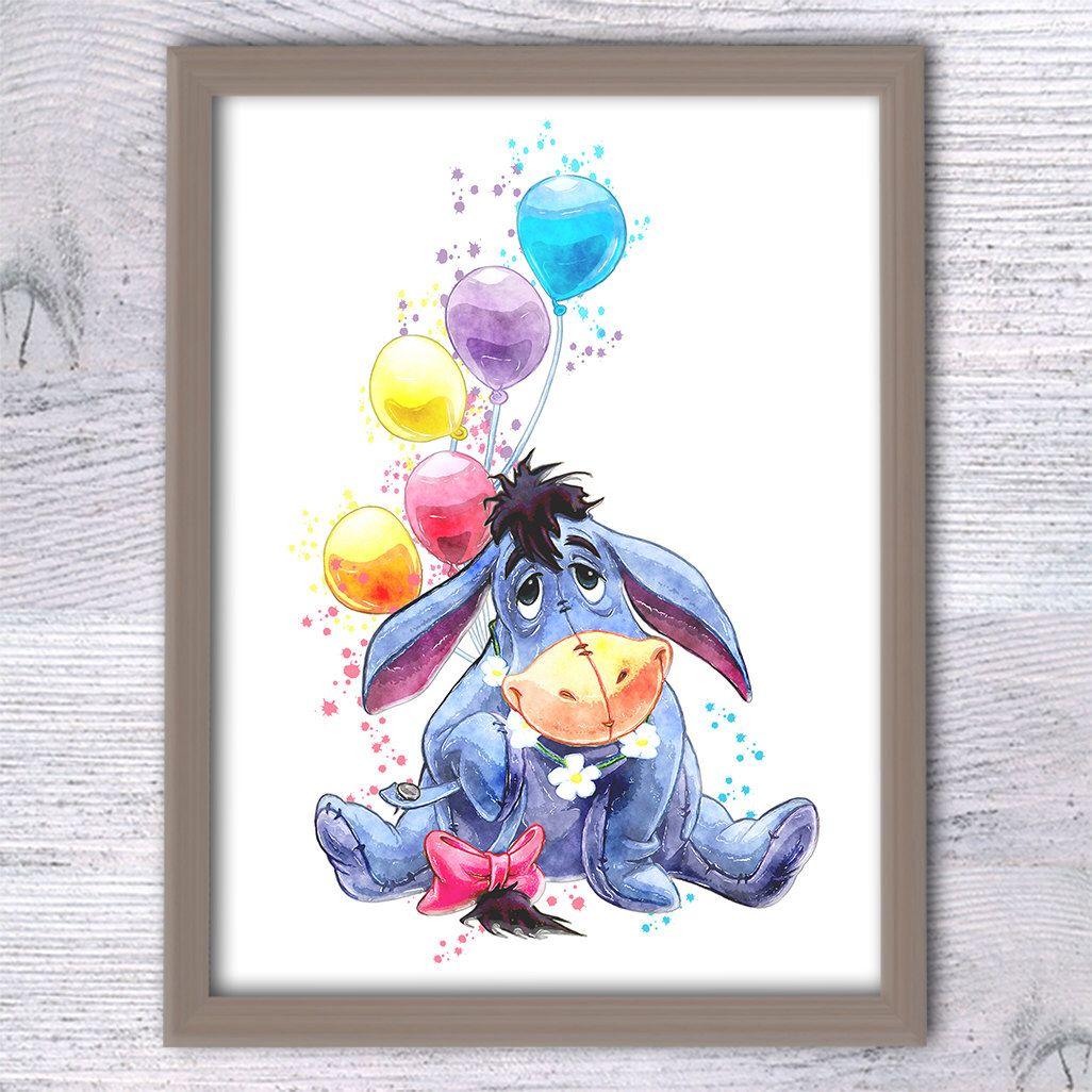Eeyore Winnie The Pooh Watercolor Print Disney Art Poster