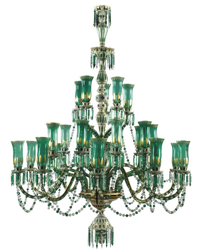 A Pair Of Green Glass Chandeliers For The Indian Market Bohemia 20th Century