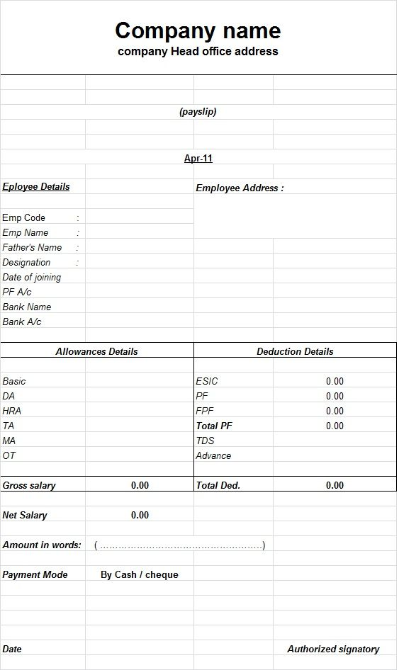 Doc1116719 Salary Slip Format for Contract Employee – Payslip Format Download