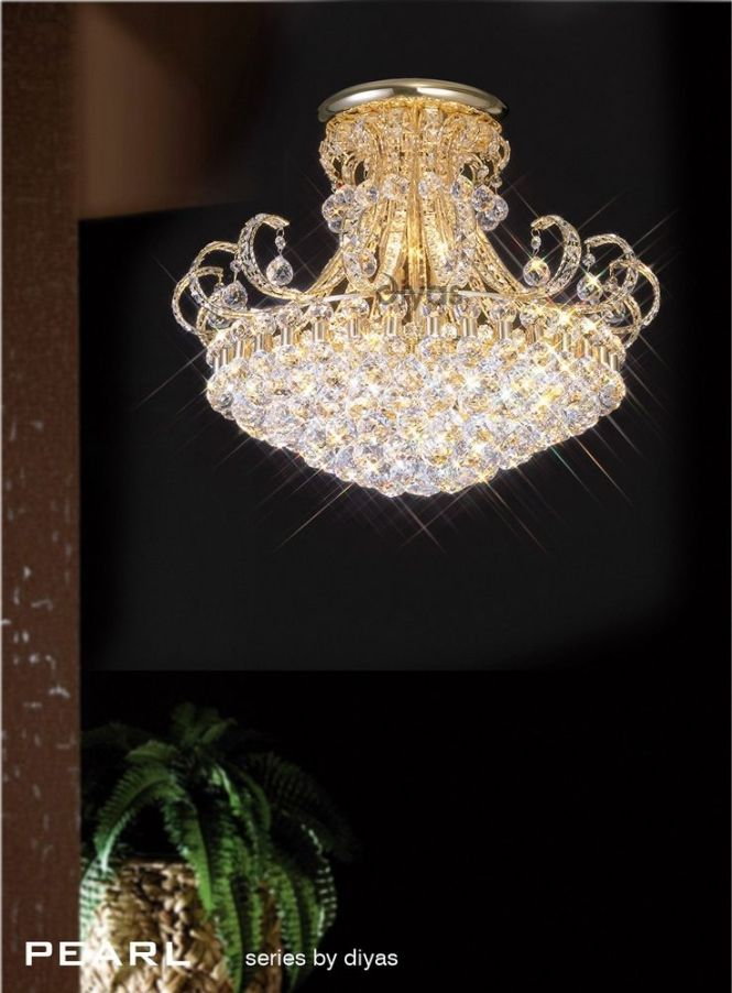 Stunning Gold Plated Crystal Chandelier Dressed With Asfour Egyptian Lead Additional Double Band Around The Rim And Square