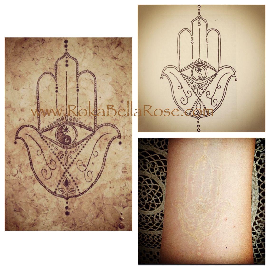Roka Bella Rose tattoo design templates. ☮☯ Hamsa ☮☯hand