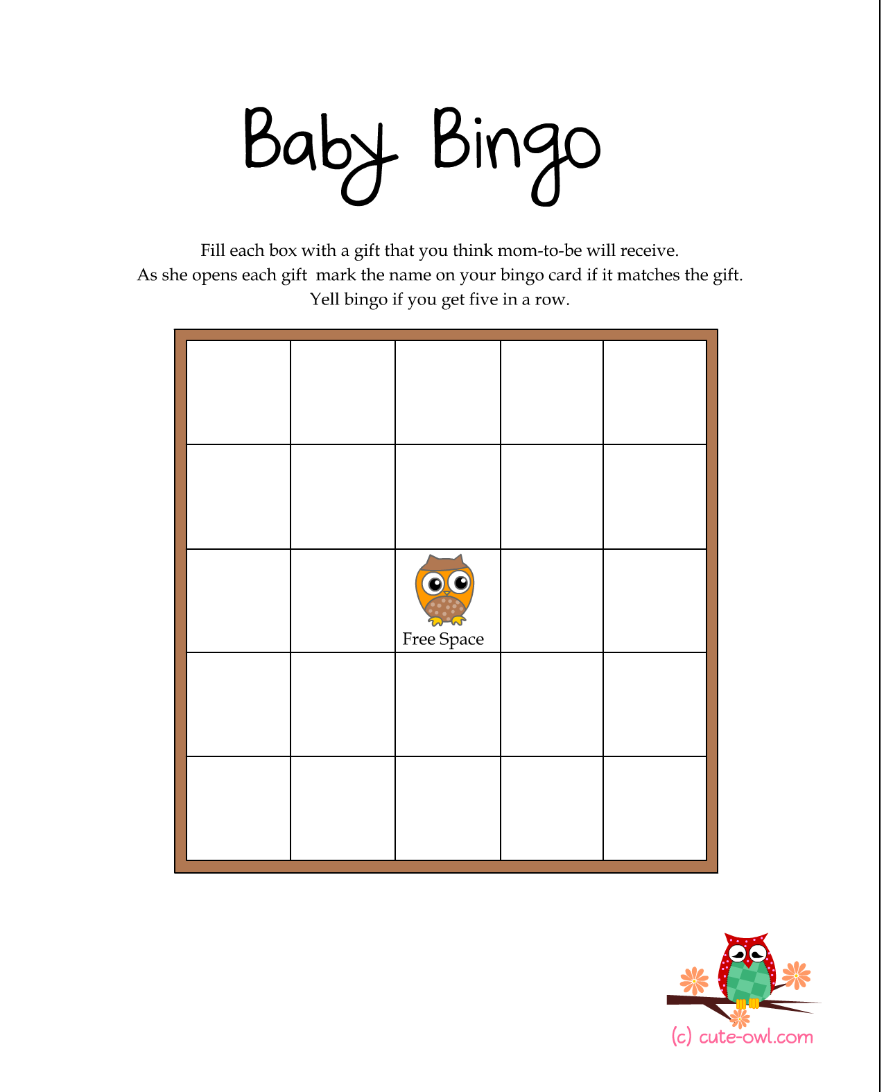 Free Printable Owl Themed Baby Shower Games