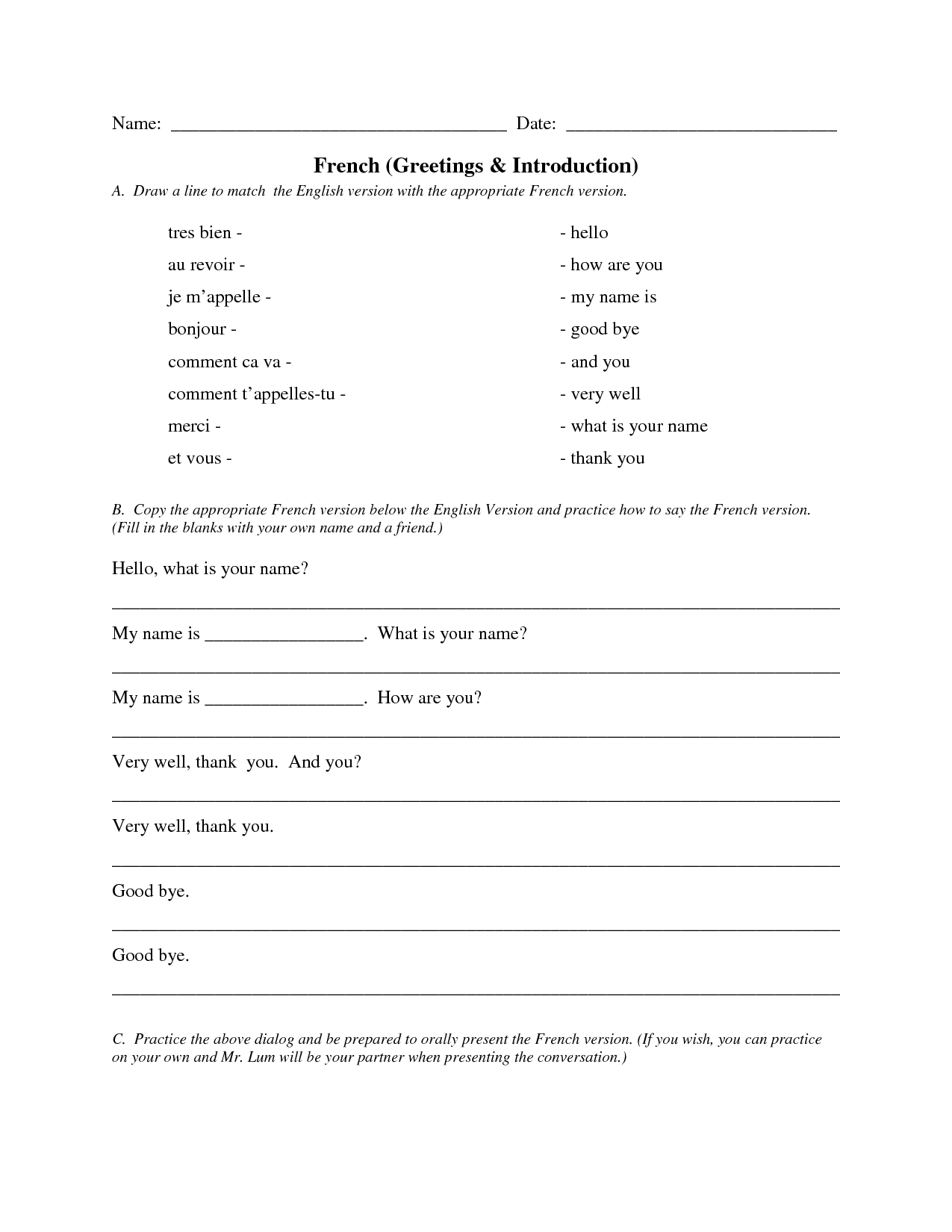 French Greetings Worksheet