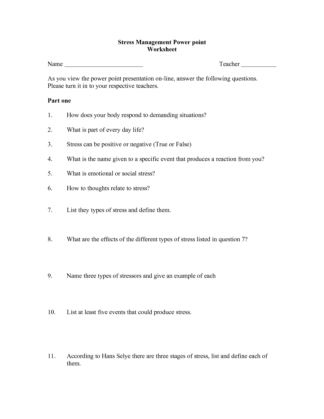 Teen Stress Management Worksheet