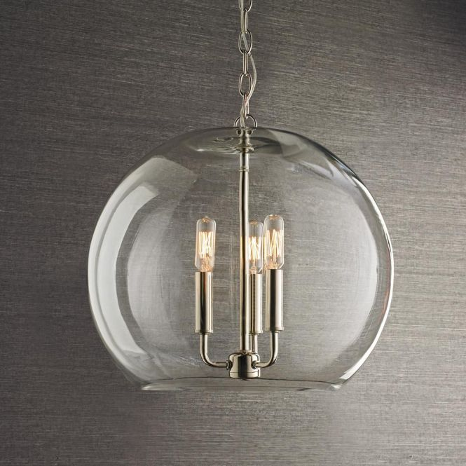 16 Clear Glass Sphere Chandelier From Shades Of Light For Over Tulip Table