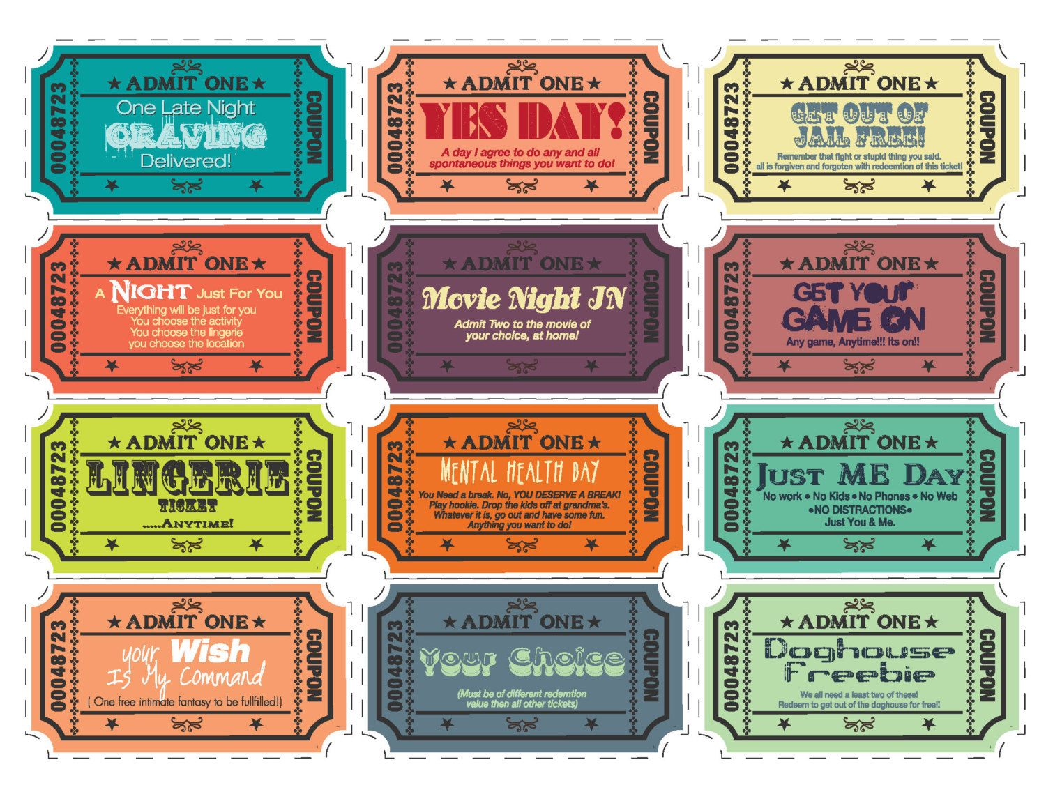 Printable Love Coupons For Wifehusband By TVLBDesigns On