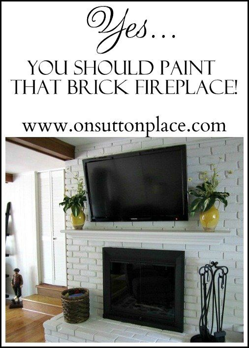 Painted Brick Fireplace Makeover Brick Fireplace Bricks