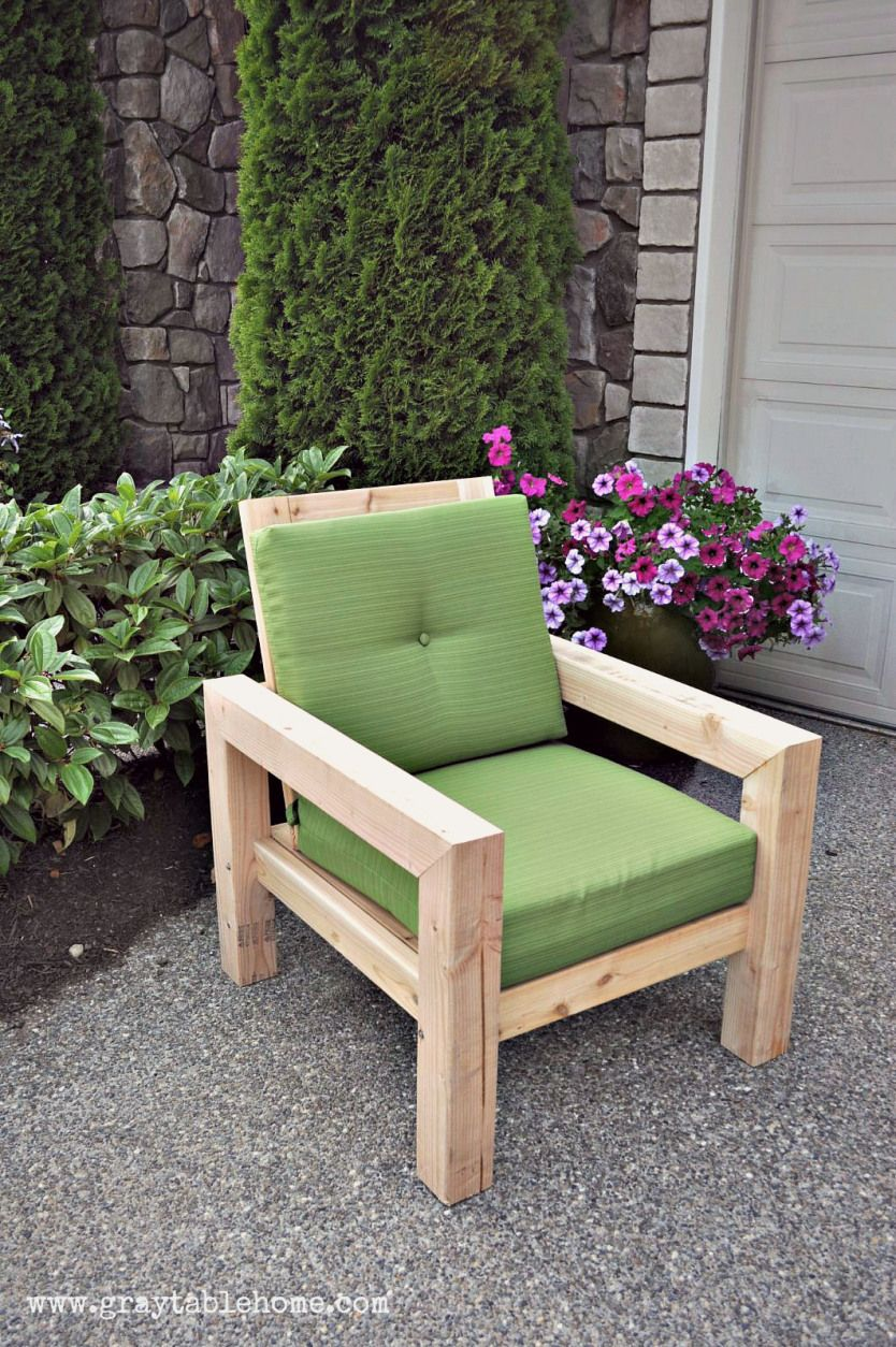 DIY Modern Rustic Outdoor Chair Gray Table Home Hand