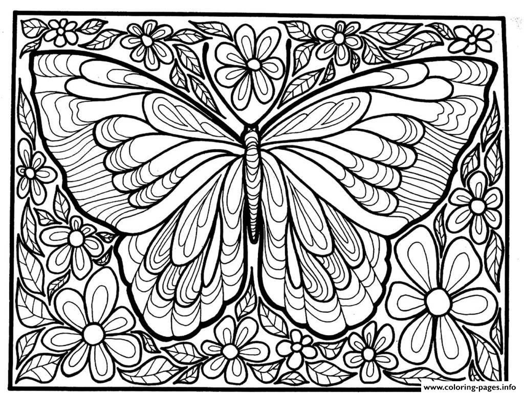 Print Adult Difficult Big Butterfly Coloring Pages To Help You