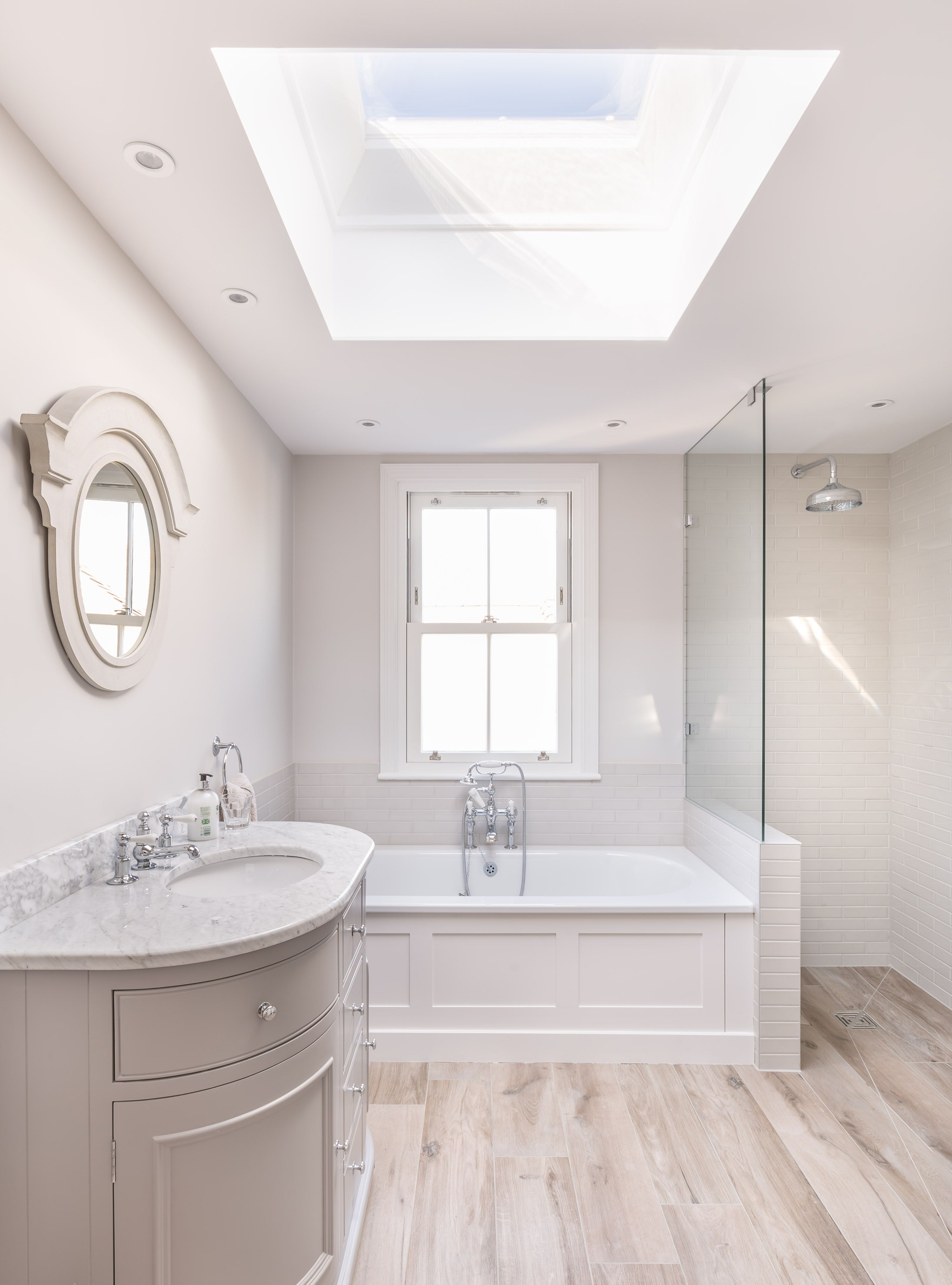 Modern victorian bathroom renovation bath walk in