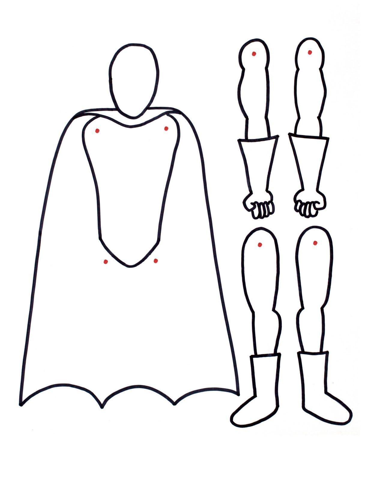 Superhero Printable With Movable Arms And Legs Paper Doll