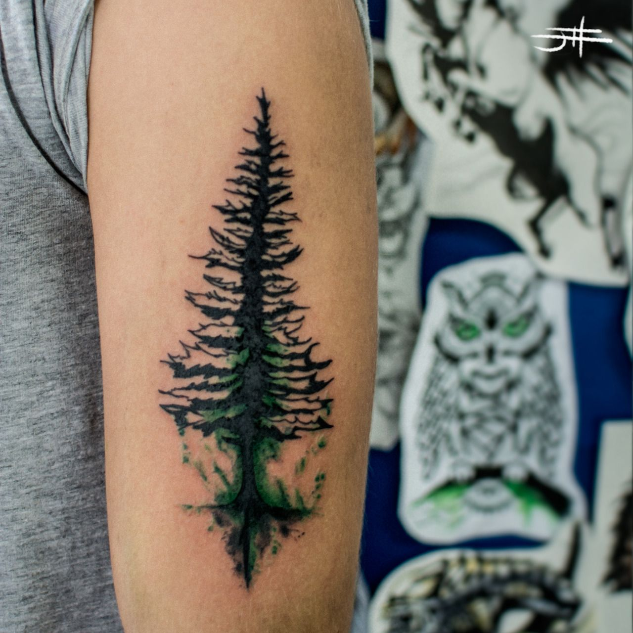 Pine Tree Tattoo Had To Pin Because That Use Of Green Is