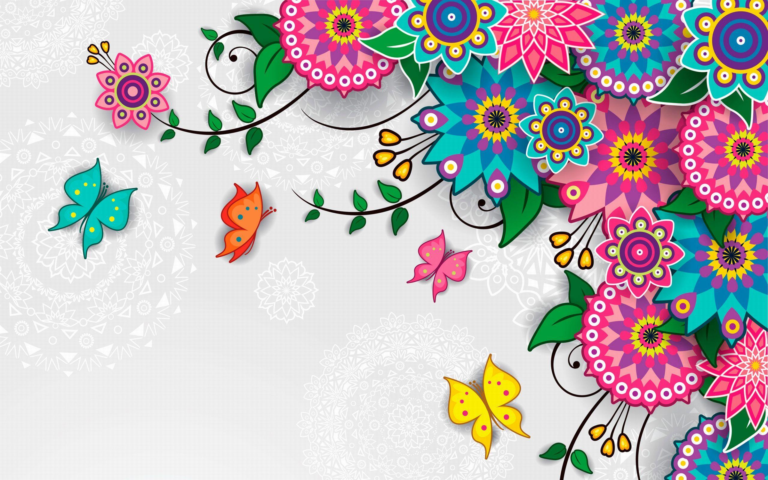 Flowers Pattern Vector Art Background Wallpaper for