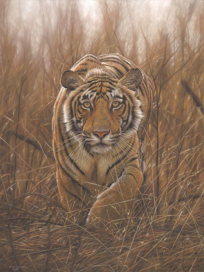 Deerstalker. Original pastel painting of a tiger by