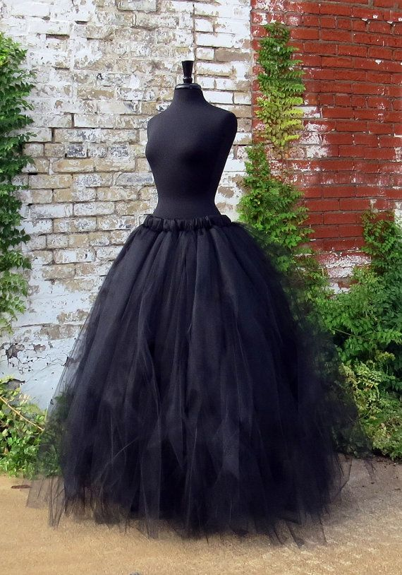 Adult Witch Full length black tulle SKIRT. Halloween