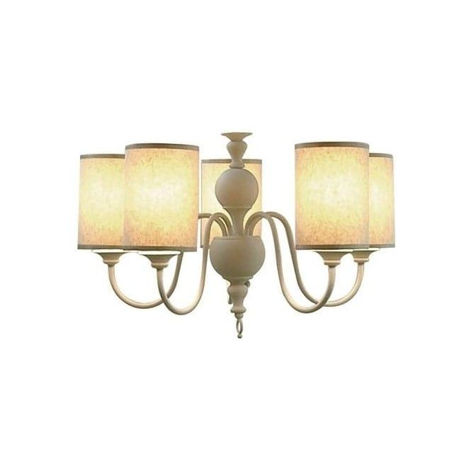 Flemish 5 Light Chandelier In A Smooth Cream Finish With Fabric Shades