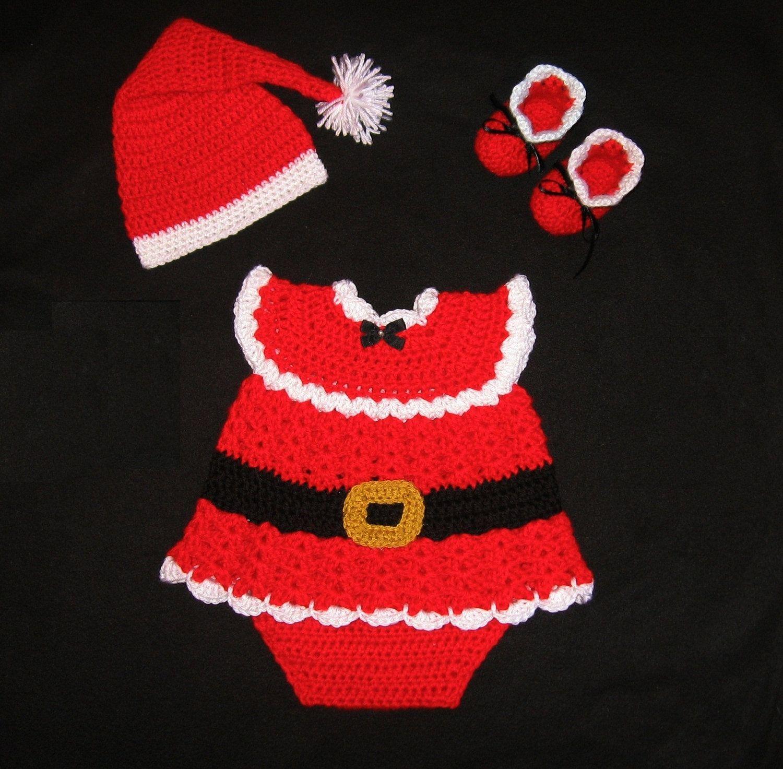 Baby Girl Crochet Santa Diaper Dress Set Christmas Baby