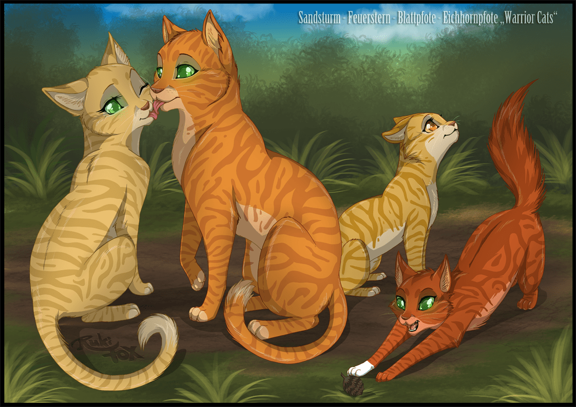 Firestar and Sandstorm with their kits Leafpool and