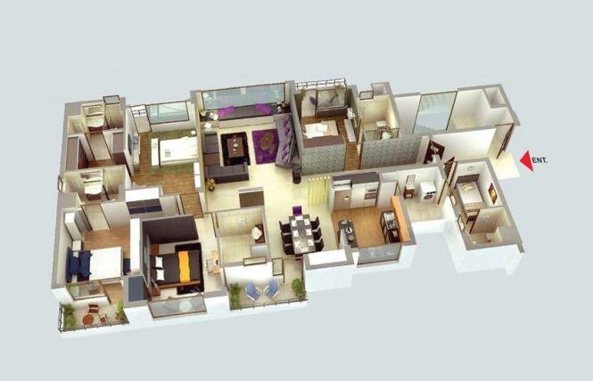 50 Four 4 Bedroom Apartment House Plans