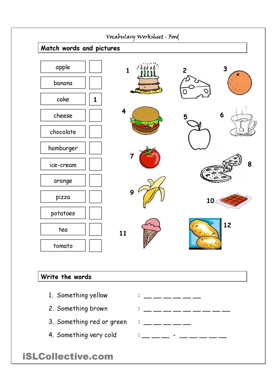 Vocabulary Matching Worksheet Food english for
