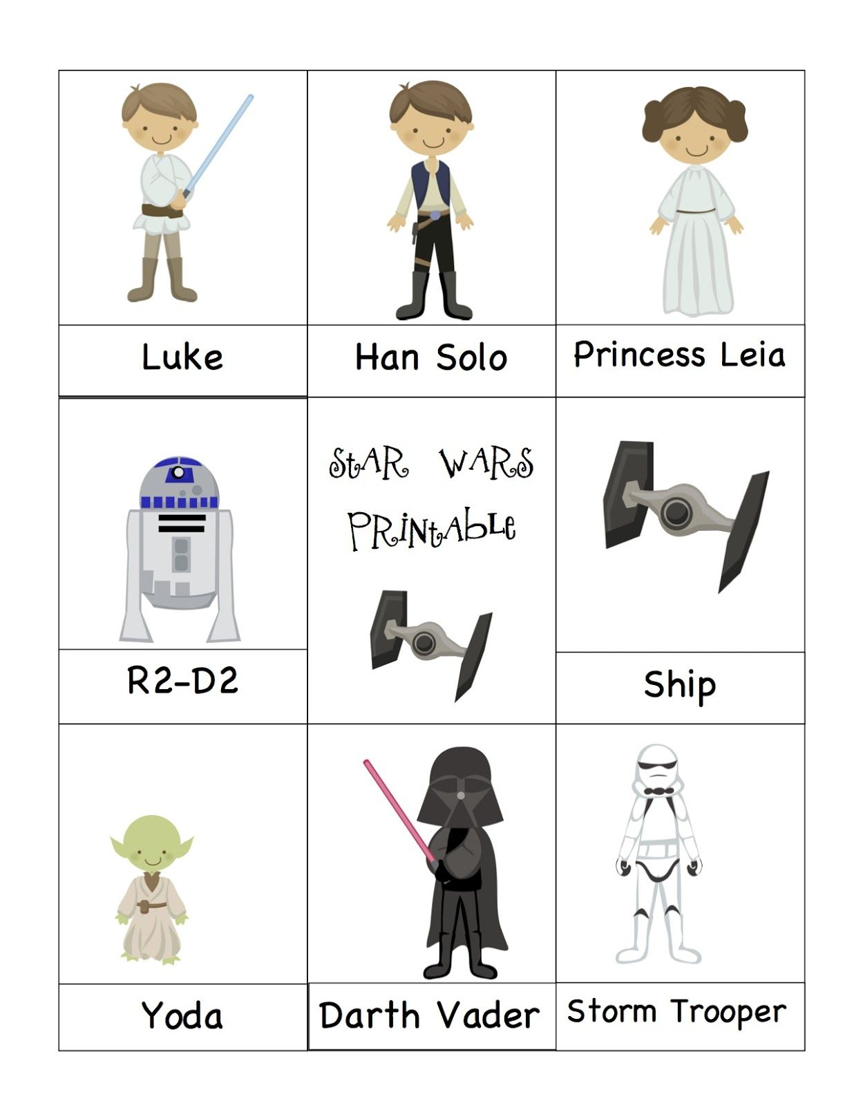 Preschool Printables Star Wars