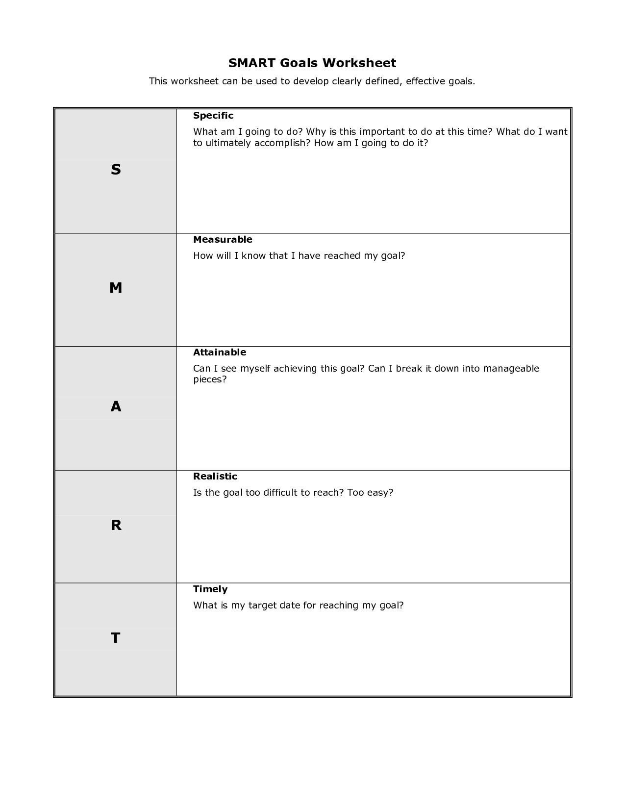 Personal Smart Goal Worksheet Template