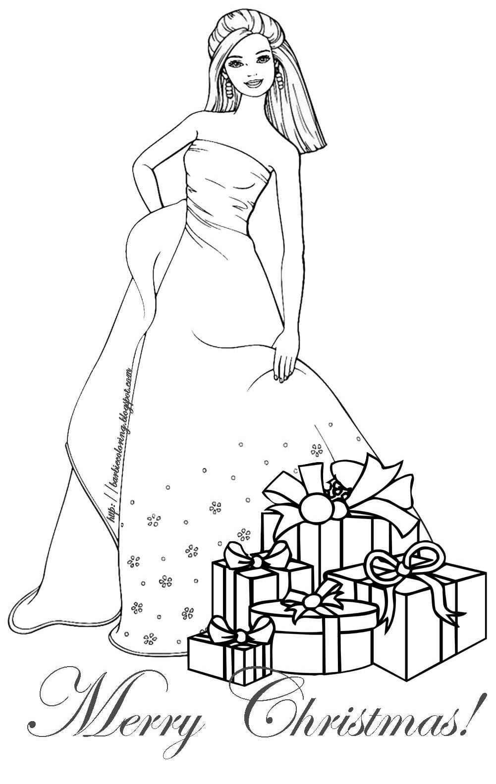 Christmas Coloring Pages BARBIE COLORING PAGES BARBIE