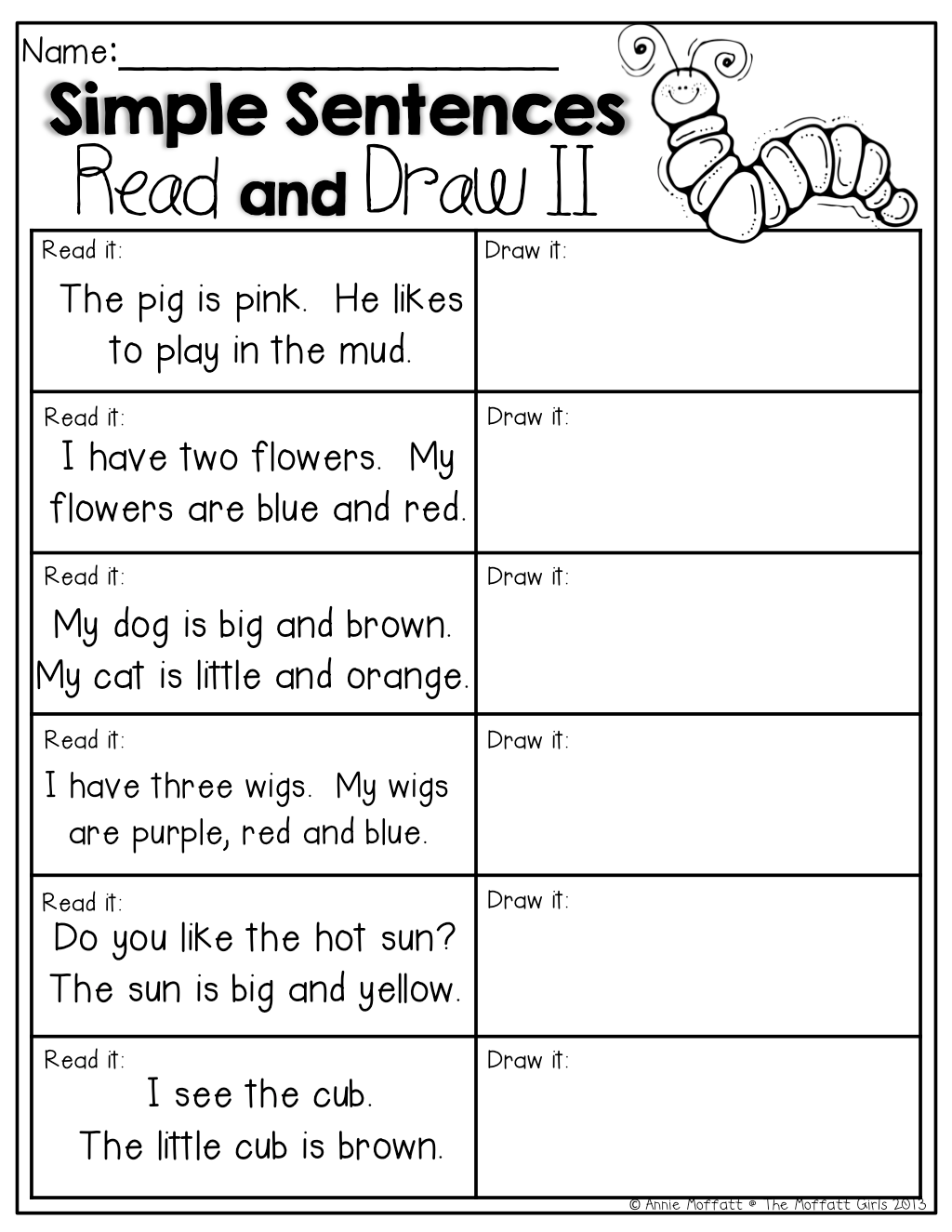 Read And Draw Read The Simple Sentences And Draw A