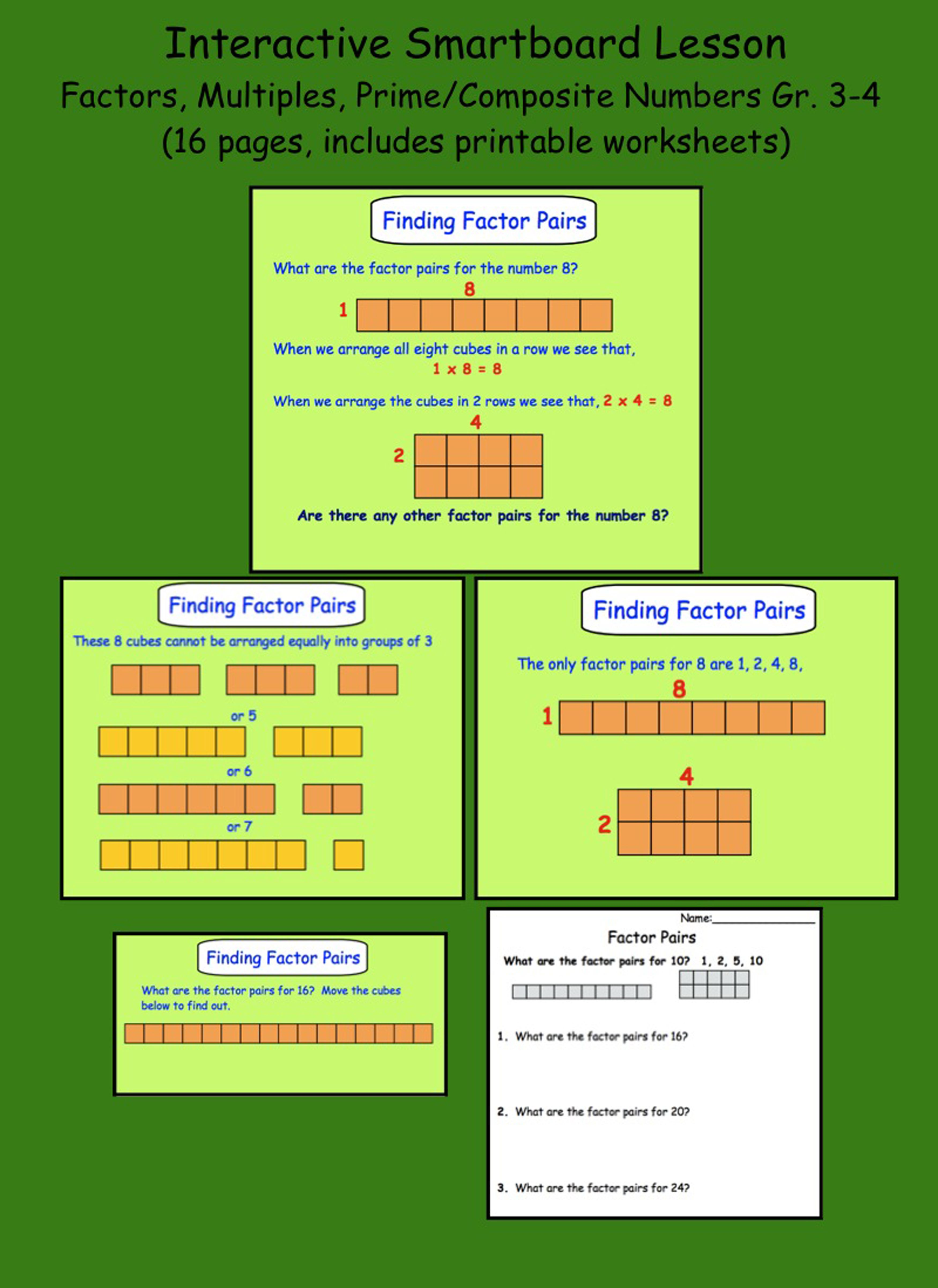 Factors And Prime Numbers Worksheet