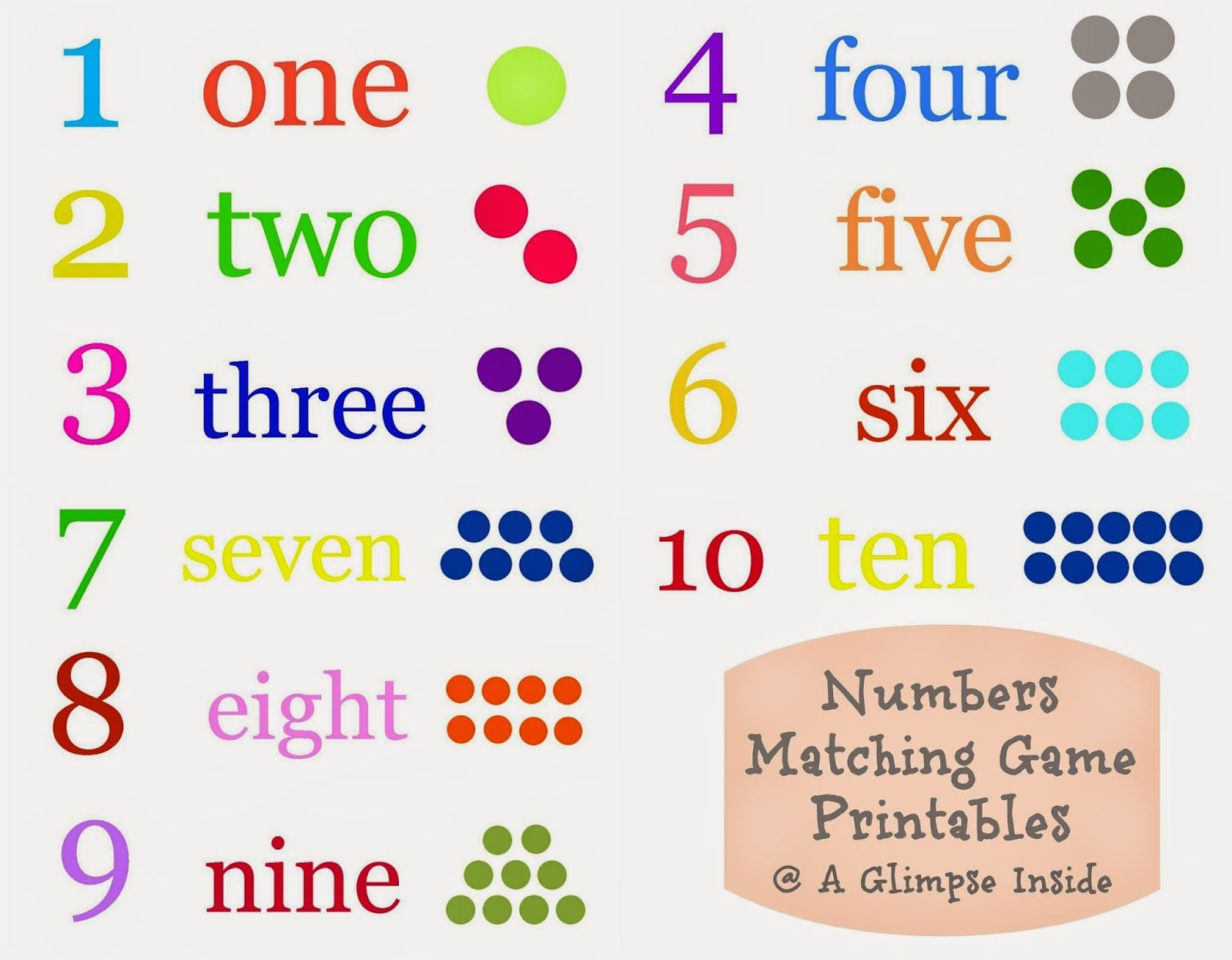 A Glimpse Inside Numbers Matching Game Printables