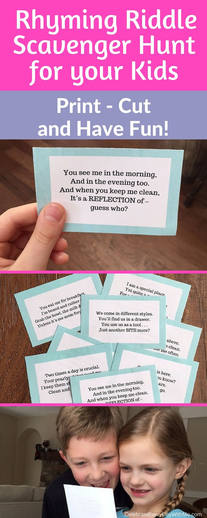 Rhyming Riddle Scavenger Hunt for your kids. Print, cut