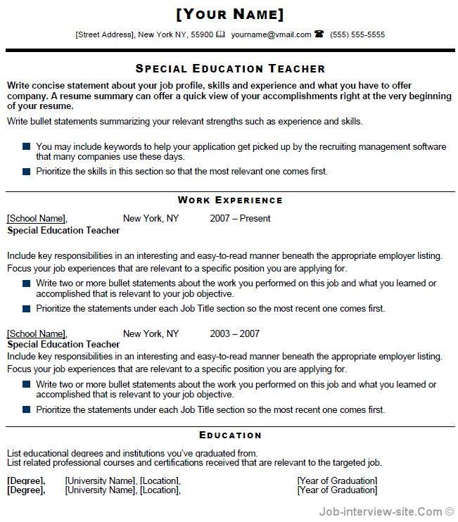 special education resumes images about resumes on special